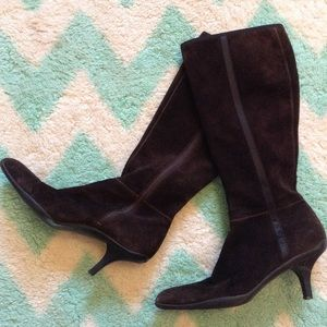 PRADA chocolate brown suede boots 37.5 7.5